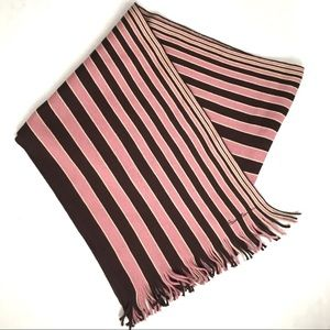 Paul Smith Striped New Wool Pink and Brown Scarf